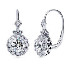 Silver Cubic Zirconia CZ Vintage Style Art Deco Leverback Dangle Earrings
