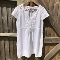 Phase Eight White Linen Summer Tunic Top Size 12 VGC Holiday