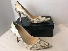 "New RALPH LAUREN Oyster Snakeskin 4"" Stiletto Heels Cream Gray Pumps Shoes Sz 9M"