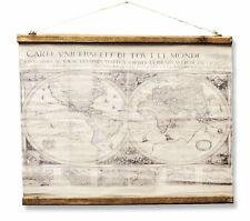 Weltkarte Weltkugel Antik Stil Wandkarte Leinen Leinwandbild Vintage Historisch