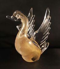 VTG Murano Venetian 24K Gold Fleck Swan Figurine