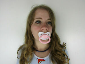 Pink and White Adult Pacifier Soother Dummy from the dotty diaper company