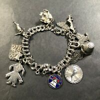 """Elco 925 Sterling Silver Charm Bracelet with 12 Charms 6"""" Long 37.9g"""