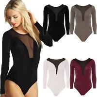 Womens Ladies Mesh Insert Bodysuit Long Sleeve Leotard Plain Stretch