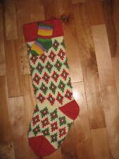 Vintage Christmas stocking wool blend diamond design rainbow mini stocking