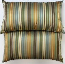 """Pair of Silk Olive/ Navy Stripe Pillows'"
