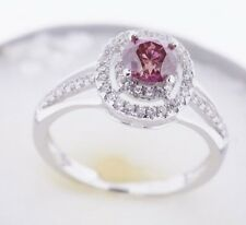 14K WHITE GOLD FANCY PINK & WHITE DIAMOND RING 1.00 CARAT Valentineday Spl.Sale