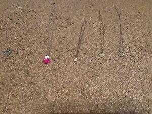 Girl Necklace Lot Of 5- Cupcake Kitten Heart