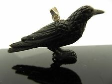 Black Crow Water Buffalo Horn Sterling Silver 3D Bird Pendant Talisman Necklace