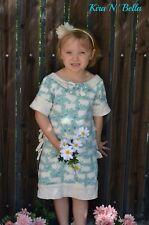 Blue Cream Sheep Knit Ruffled Dress Size 6 Handmade
