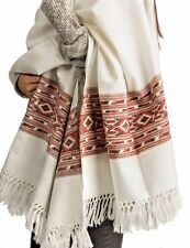 100% Lambswool Women Oversized Large Scarf Shawl White Cream Winter Camp Blanket