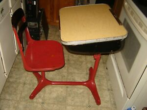 Vintage Child's School Desk Attached Chair Formica Desk Top Burgundy Cast Iron