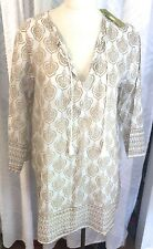 Rock Flower Paper ROCKFLOWERPAPER L White and Gold Leaf Cotton Tunic Top NWT