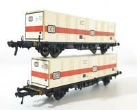 FLEISCHMANN 5232 HO GAUGE - 2x GERMAN DB CONTAINER WAGONS WITH DB CONTAINERS