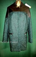 New KAREN MILLEN Uk 12 Green Tweed Black Faux Leather POD COAT Long Jacket CR047