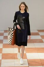CELINE by Phoebe Philo Runway Wool & Leather Patchwork Dress FR 38,US 6-8,S-M