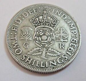1939 Silver Two Shillings King George VI