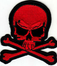 SKULL AND CROSSBONES Red Iron On Patch Jolly Roger Skulls Biker