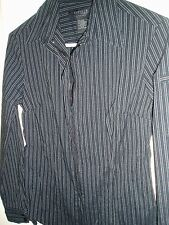 EXPRESS Black Striped Blouse Sz 3/4 S Small Fitted Stretch Shirt Top Zip $0 S/H