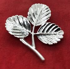 Vintage Brooch Pin Sara Cov Signed Coventry Leaf Flower Silver Tone