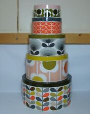 More details for set of 5 x orla kiely multi-coloured cake tins in excellent / unused condition