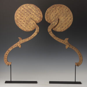 Early 20th Century, A Pair of Burmese Wooden Fans with Gilded Gold and Glass