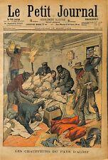 BANDITS ATTAQUE  la ferme Van Den Neucker ALOST BELGIQUE 1903 ANTIQUE PRINT