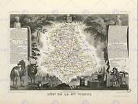 MAP OLD ILLUSTRATED FRANCE LEVASSEUR HAUTE VIENNE POSTER ART PRINT BB12042B