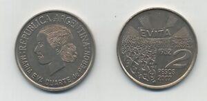 """Argentina 2 pesos 2002  """"Maria Eva Duarte de Peron"""" KM 135 aUNC"""