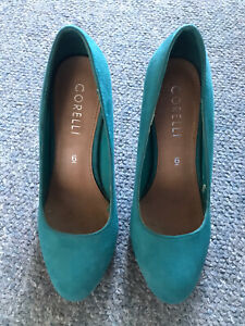 High Heel Teal Pho Suede Womens Court Shoes Size 6 Aus (36)