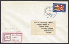 BEA Trident First Flight cover 1964 Geneva, Switzerland to London