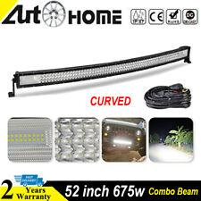 "Curved 52"" inch LED Work Light Bar 7D Flood Spot Offroad 4WD Heavy Duty Truck 50"