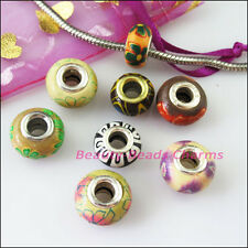 8Pcs Mixed Polymer Fimo Clay Round Spacer Beads Fit European Bracelets 14mm