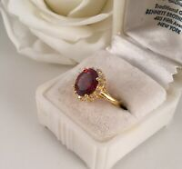 Vintage Jewellery Gold Ring with Ruby White Sapphires Antique Deco Jewelry sz L