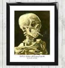 Framed Art Print Skull with Cigarette by Van Gogh Vintage painting/poster 141