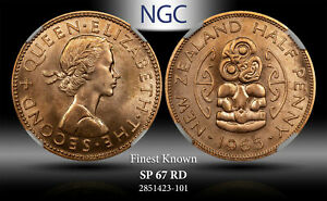 1965 NEW ZEALAND 1/2 PENNY NGC SP 67 RD FINEST KNOWN WORLDWIDE