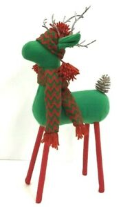"Standing Felt Reindeer~Knit Hat/Scarf~PVC Pinecone Tail/Antlers. 19"" Tall"