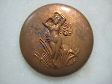 Greco Roman Nude Swamp Nymph Brass Medallion; Older Vintage Art Nouveau, Patina