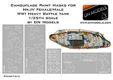 Camouflage paint masks 1/35 Beutepanzer WWI Male/Female Mk.IV Camo