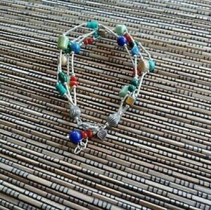 SILPADA B0788 Lapis Turquoise Jasper Coral Seed Bead Bracelet  RARE Multi strand
