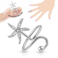 Anillo Dedo Del Pie de plata estrella mar Muchos Circonia CRISTALES CLARO