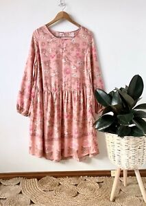 BOHO AUSTRALIA pink floral drop waist shift dress sz M | BNWT