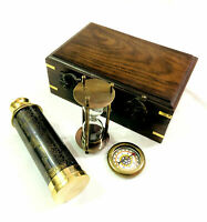 Unique Nautical Handheld Pirate Brass Antique Telescope Compass Sand Timer with