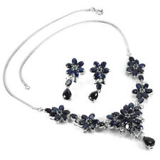 GENUINE BLUE SAPPHIRE HEATED STERLING 925 SILVER FLOWER SET LENGHT 17.75 INCH.