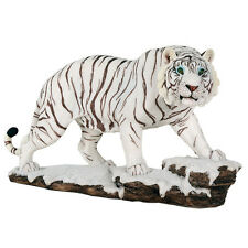 Tiger White Figurine Statue Wild Cat Animal Cub Large Figure Collectible Decor