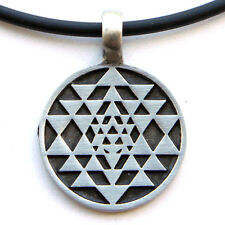 Sri Yantra Chakra interlocking triangles diagram Pewter Pendant W PVC Necklace