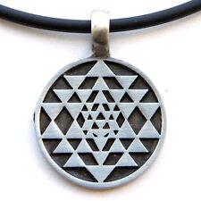 Sri Yantra Chakra interlocking triangles diagram Pewter Pendant W PVC Necklace