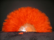 "MARABOU FEATHER FAN - ORANGE Feathers 12"" x 20"" Burlesque/Halloween/Mardi Gras"