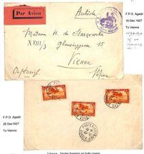 AG110 1927 FRENCH COLS MOROCCO Agadir Military Airmail/AUSTRIA Vienna
