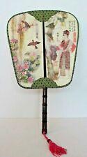 HAND FAN Oriental Chinese Japanese Decorative Silk Wall Fan w/Bamboo Handle- EXC